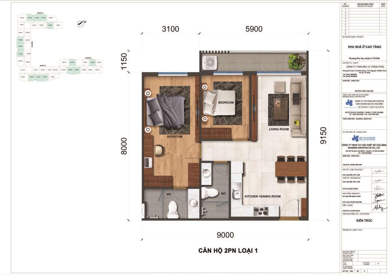 Thiết kế điển hình căn 2 phòng ngủ