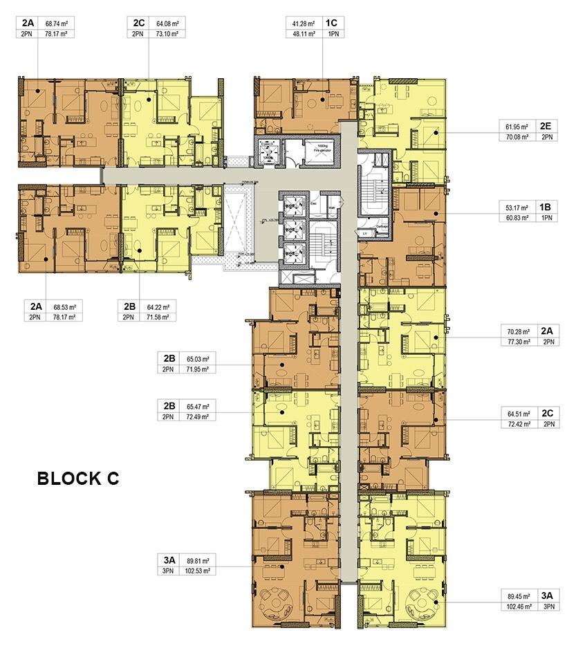 mặt bằng phân lô block c căn hộ kingdom 101