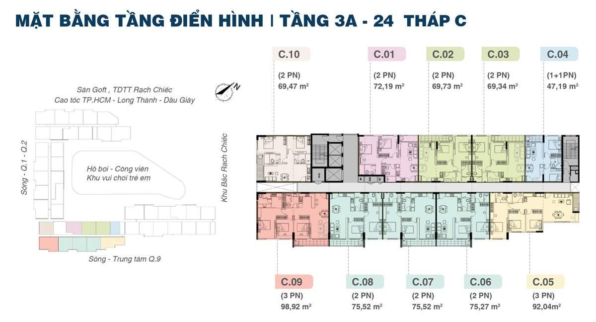 Mặt bằng tháp B dự án Jamila Khang Điền