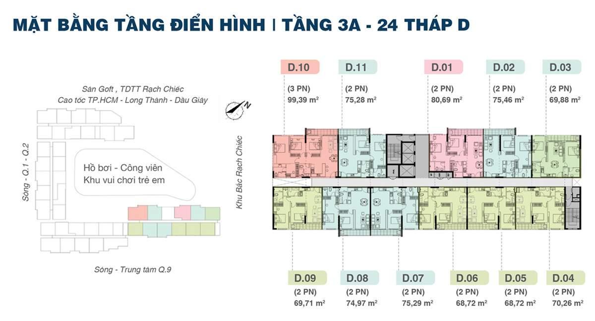 Mặt bằng tháp D căn hộ Jamila Khang Điền