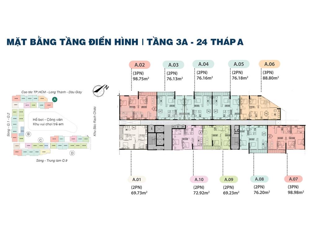 Block A goonmf 10 căn hộ trên 1 tầng. Trong đó có 3 căn 3pn và 7 căn 2pn. View ngoại khu đường song hành cao tốc, trung tâm Quận 9 là hướng Đông Bắc. View nội khu hồ bơi tràn là hướng Đông Nam