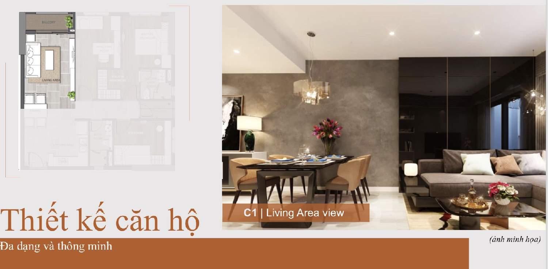 Phòng khách căn 3 phòng Căn hộ Aio City Bình Tân