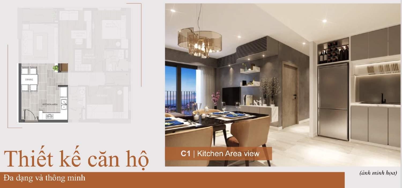 Phòng Bếp căn 3 phòng ngủ Căn hộ Aio City Hoa Lâm