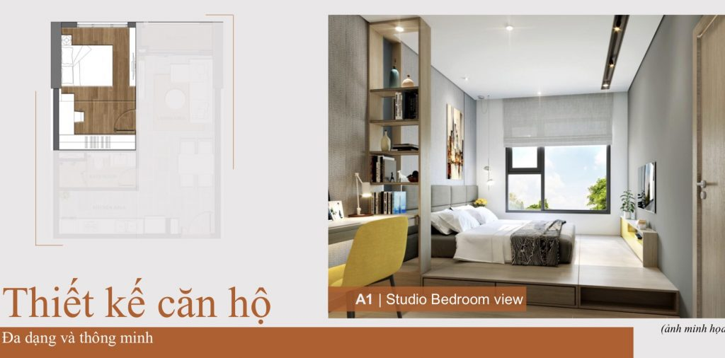Phòng Ngủ căn 52 m2 căn hộ Aio City