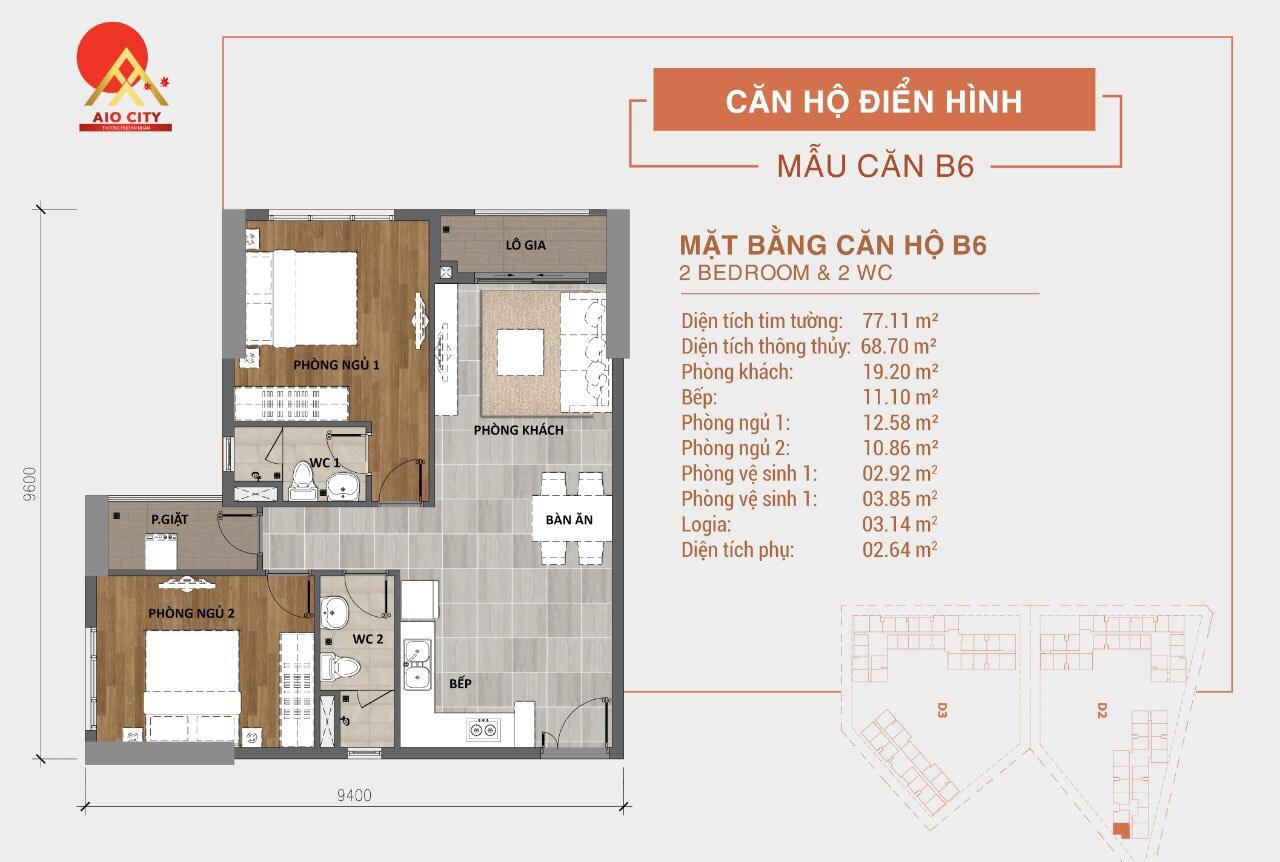 Mẫu Thiết kế căn hộ B6 dự án Aio City Bình Tân