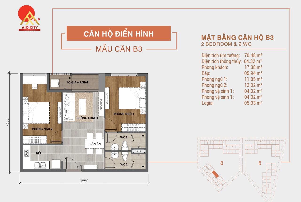 mẫu thiết kế B3 Aio City Hoa Lâm