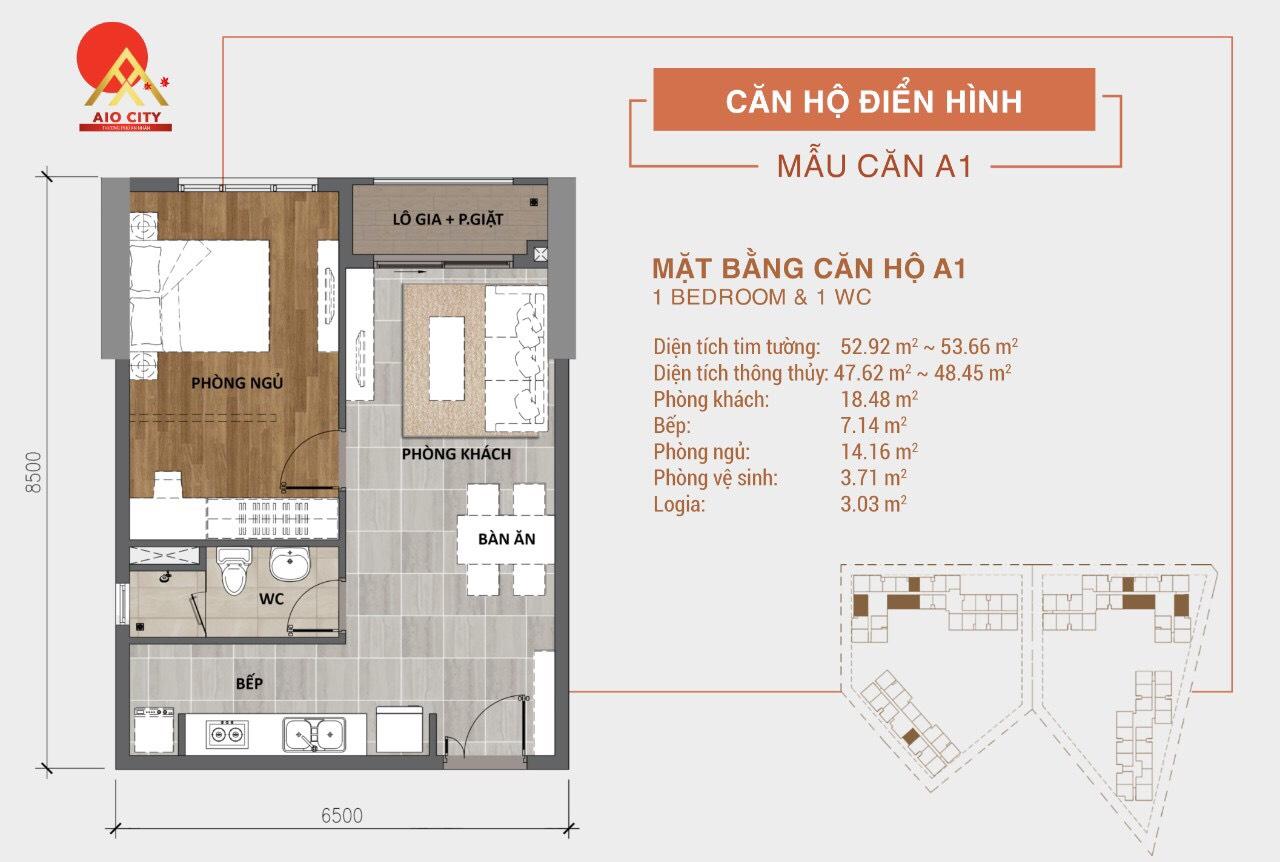 Mẫu Thiết kế căn hộ A1 dự án Aio City Bình Tân