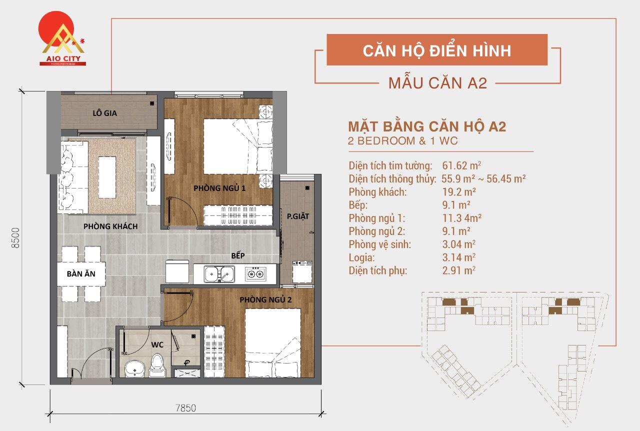 Mẫu Thiết kế căn hộ A2 dự án Aio City Bình Tân