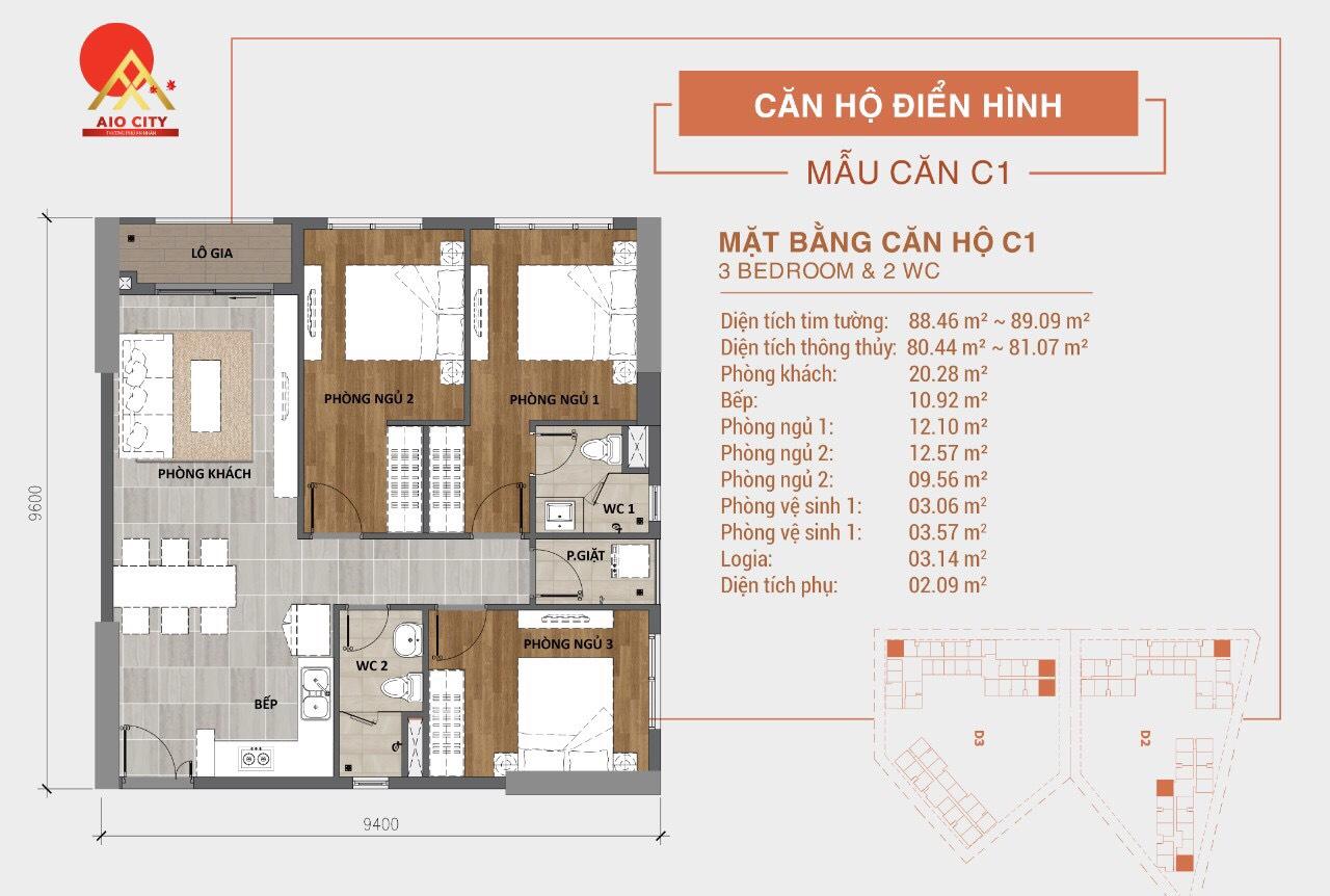 Mẫu Thiết kế căn hộ C1 dự án Aio City Bình Tân