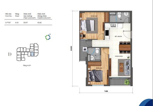 Thiết kế căn 2pn Lovera Vista Bình Chánh