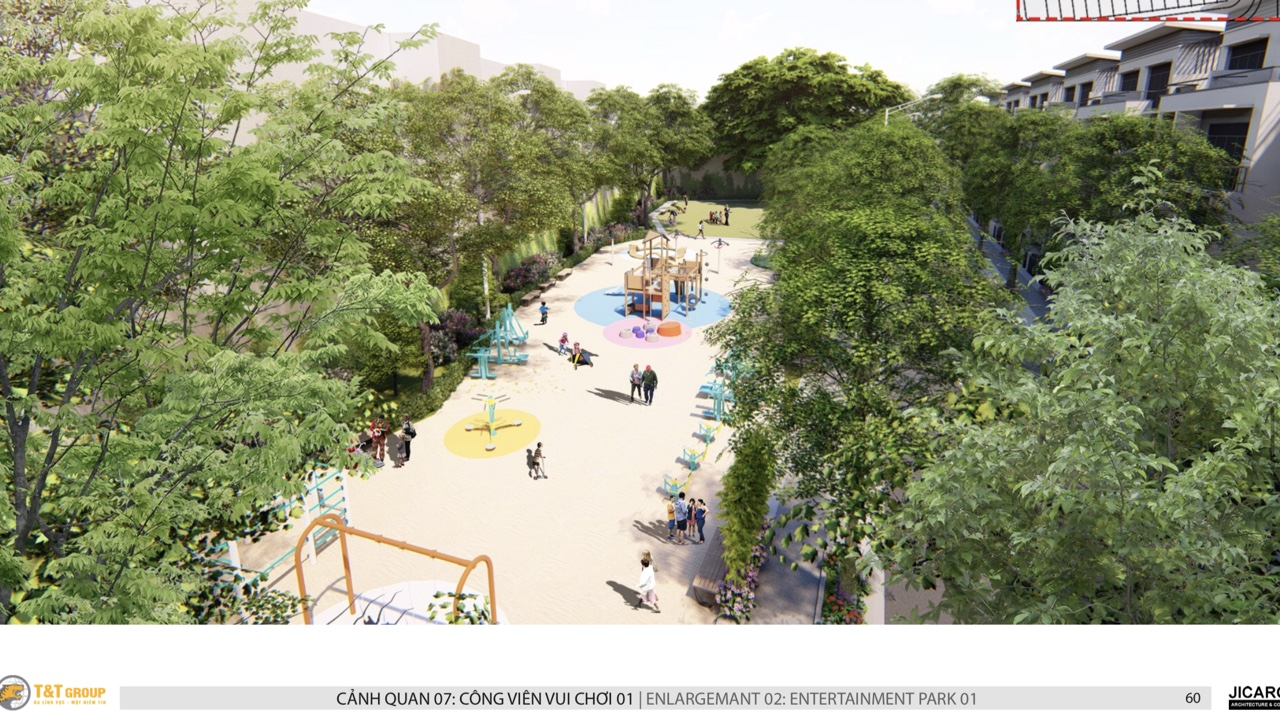 Công viên rộng thoáng xanh mát tại Millennia Long Hậu