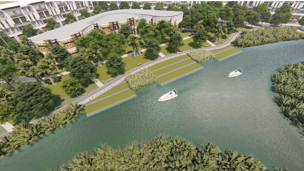 Công viên dọc sông rộng thoáng xanh mát