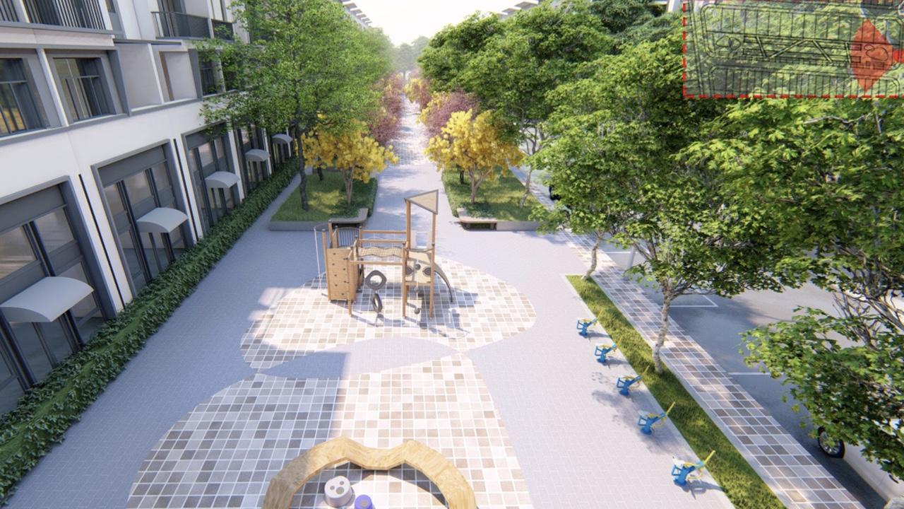 Công viên lỗi dạo bộ khu thể dục với đầy đủ trang thiết bị tại dự án Millennia City Long Hậu