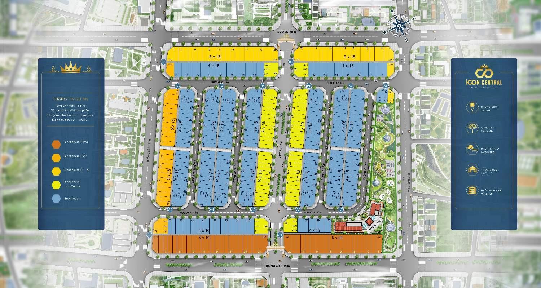 Mặt bằng phân lô dự án đất nền nhà phố Icon Central Bình Dương