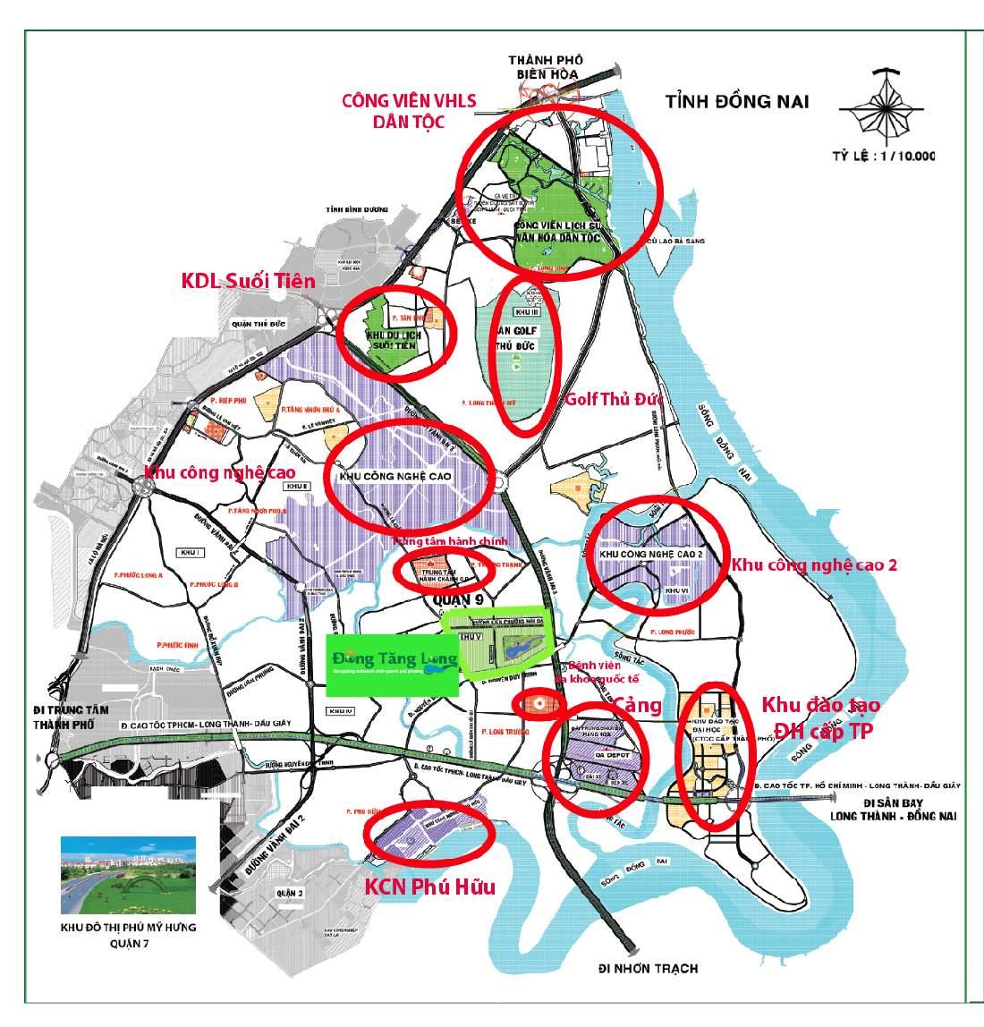 Vị trí các dự án khu vực quận 9