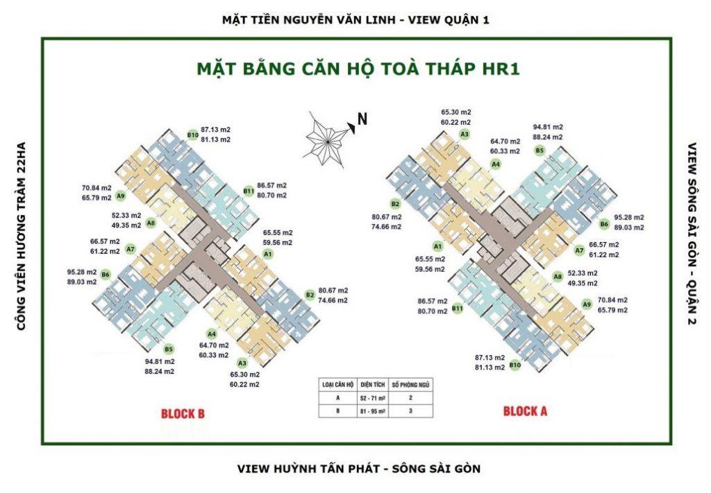 Mặt bằng chi tiết căn hộ Eco Green Quận 7 tòa HR1 block A và Block B