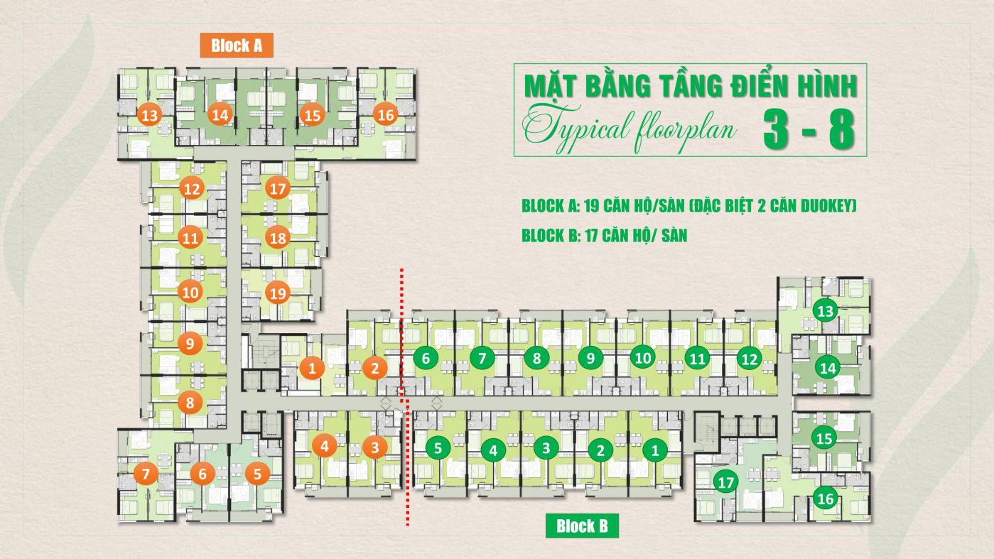 Mặt bằng tầng 3 đến 8 chung cư Ricca Quận 9