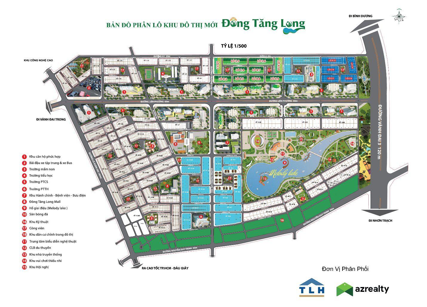 Tổng thể biệt thự nhà phố Đông Tăng Long An Lộc
