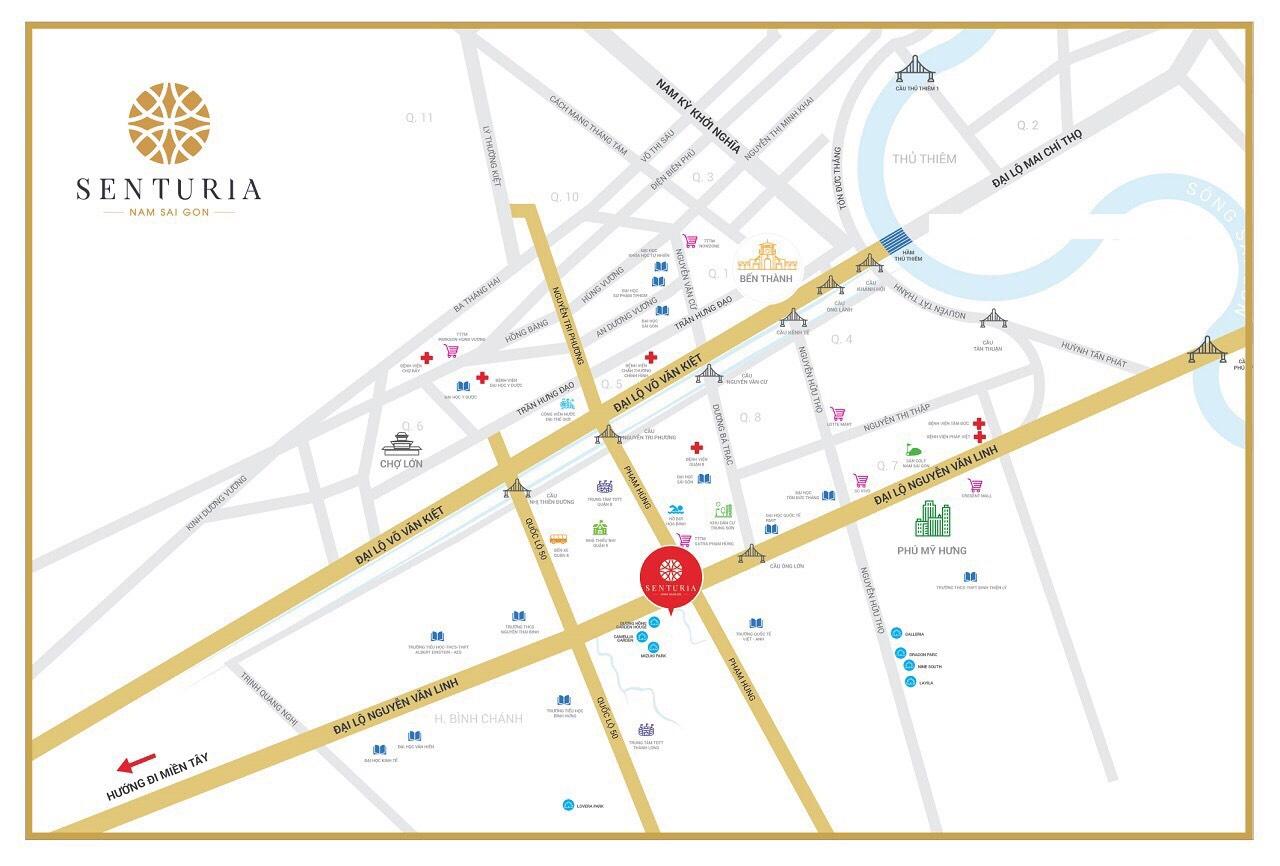 Vị trí Dự án nhà phố biệt thự Senturia Nam Sài Gòn CĐT Tiến Phước.
