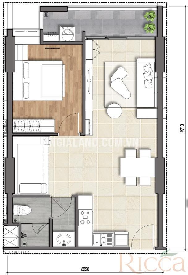 Thiết kế điển hình căn 1 phòng ngủ của dự án Ricca Quận 9