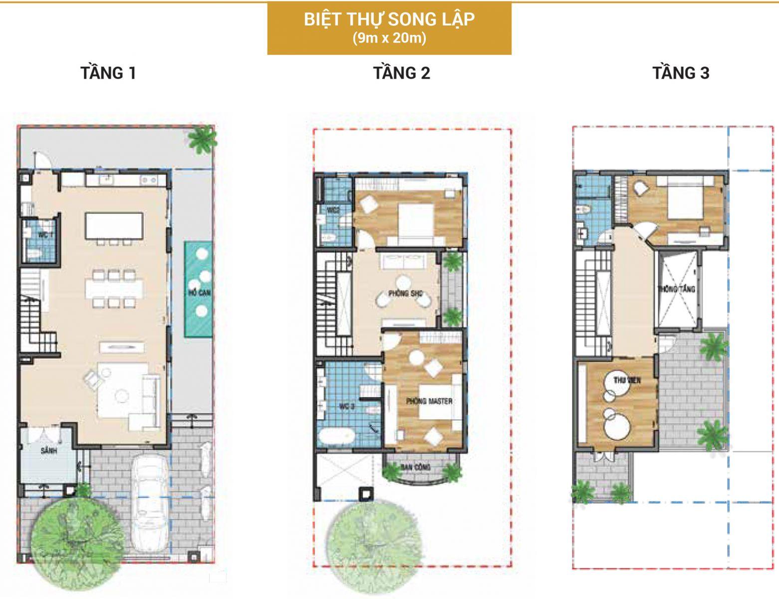 Mẫu biệt thự 9x20 Senturia Nam Sài Gòn