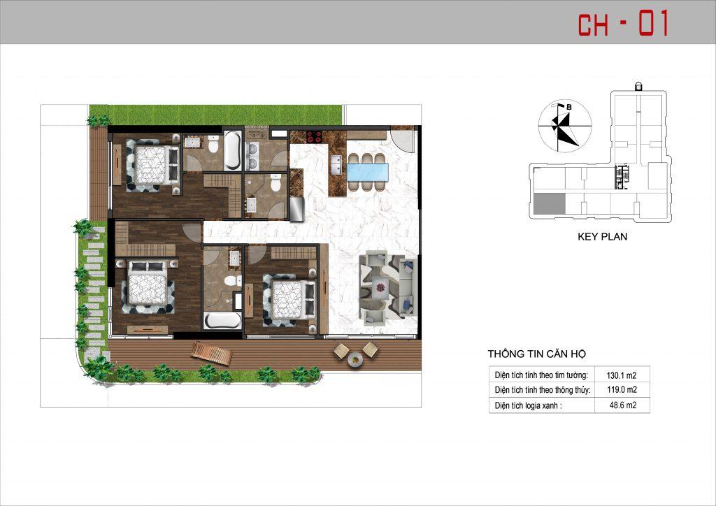 Thiết kế căn hộ 3 phòng ngủ