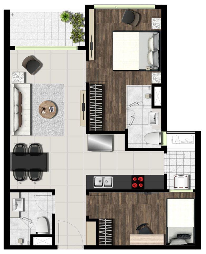 Mẫu thiết kế căn 2 phòng ngủ dự án WestGate An Gia