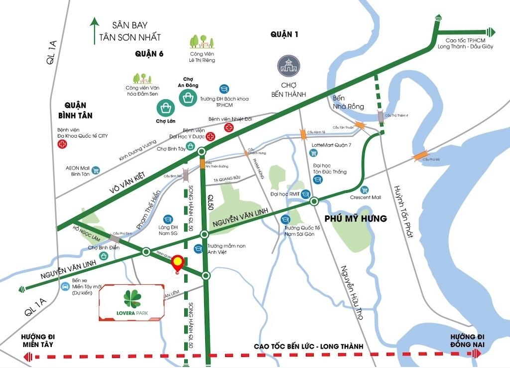 Vị trí Lovera Park Khang Điền Bình Chánh