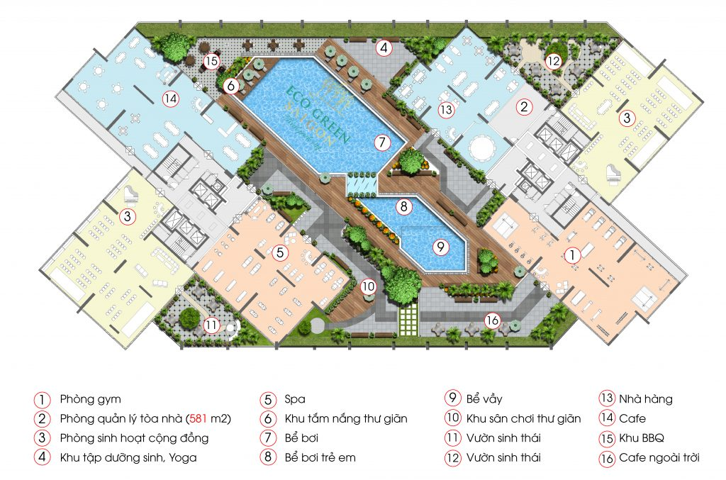 Tiện ích riêng biệt lầu 3 căn hộ Eco Green Saigon Quận 7