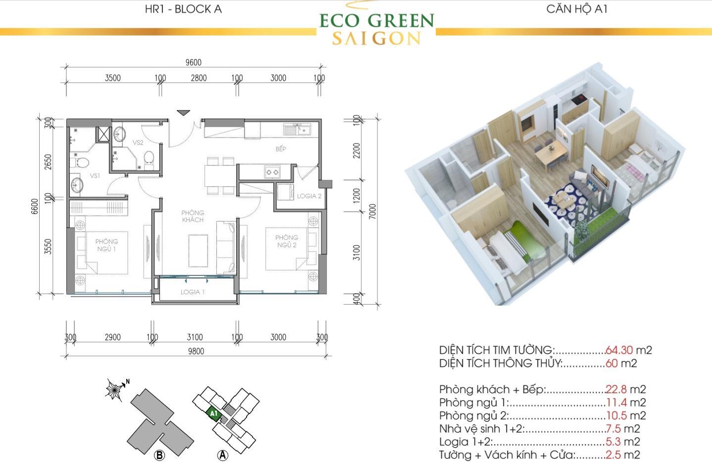 Mẫu thiết kế căn A1 Tòa Hr1 Eco Green Saigon