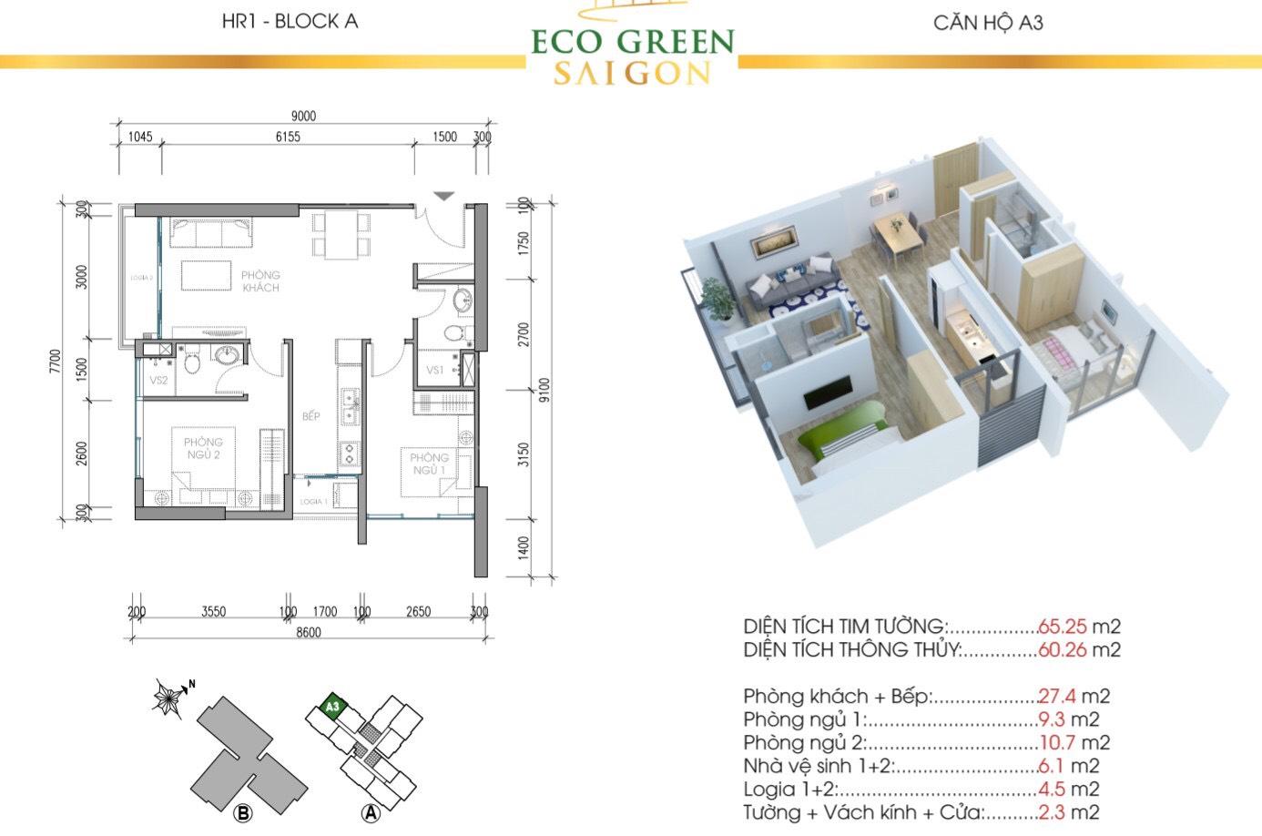 Mẫu thiết kế căn A3 Tòa Hr1 căn hộ Eco Green Saigon