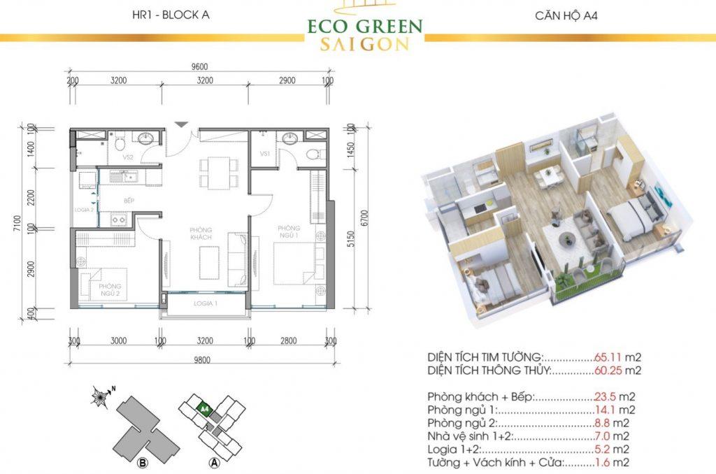 Mẫu thiết kế căn hộ A4 65m2 Tòa HR1 và HR2