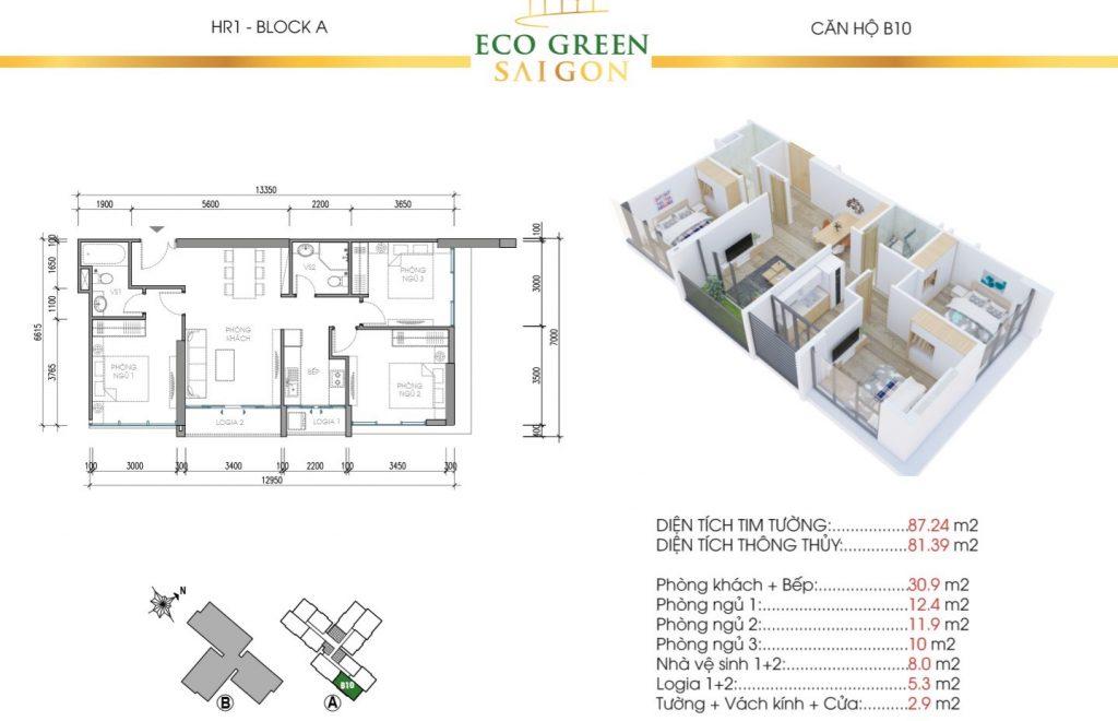 Mẫu thiết kế căn hộ B10 87m2 Tòa HR1 và HR2