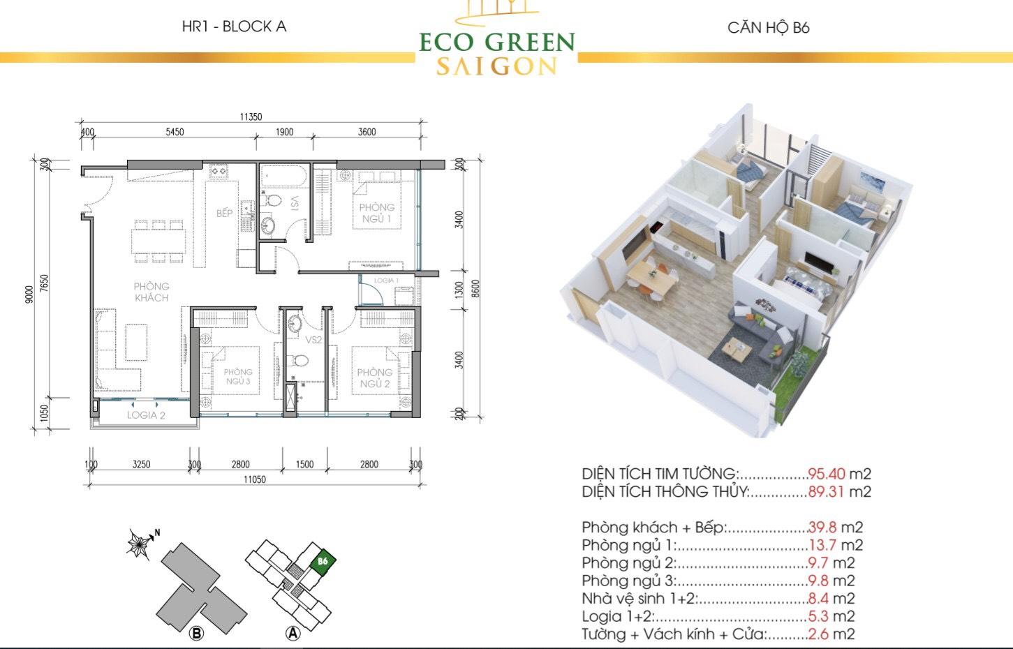 Mẫu thiết kế căn B6 Tòa Hr1 căn hộ Eco Green Saigon