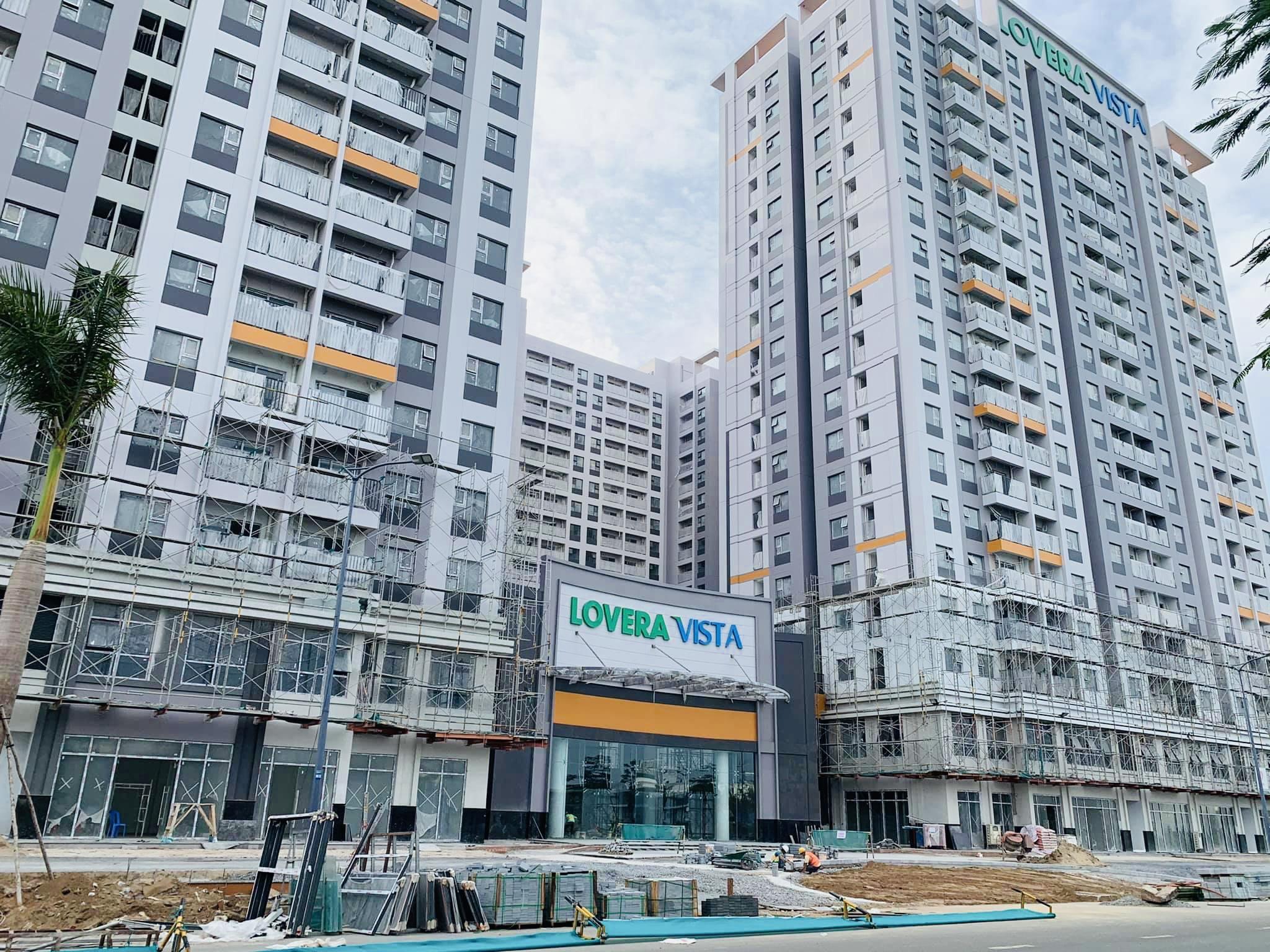 Tiến độ cập nhât mới nhất khu vực sảnh đón dự án căn hộ chung cư Lovera Vista Khang Điền.