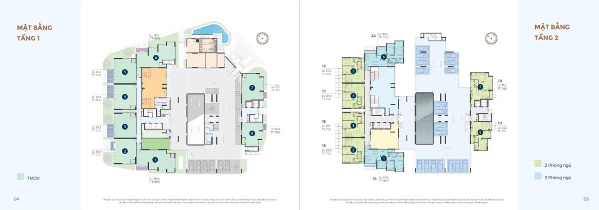 Mặt bằng Tầng 1 và 2 dự án Precia quận 2