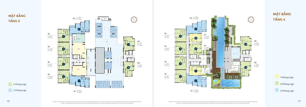 Mặt bằng Tầng 3 và 4 dự án Precia quận 2
