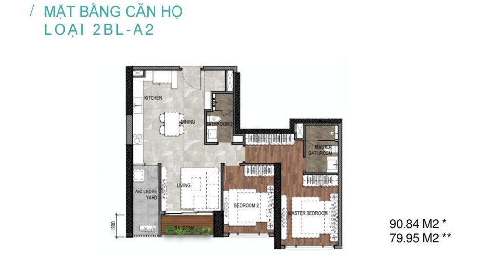 Thiết kế căn 2 phòng ngủ dự án Celesta Nhà Bè