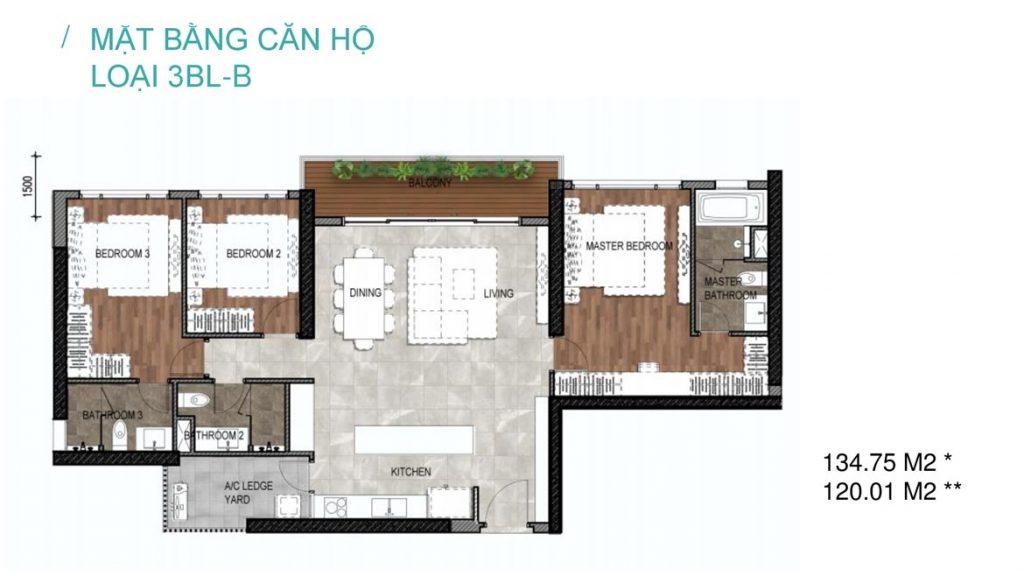 Thiết kế căn 3 phòng ngủ dự án Celesta Nhà Bè