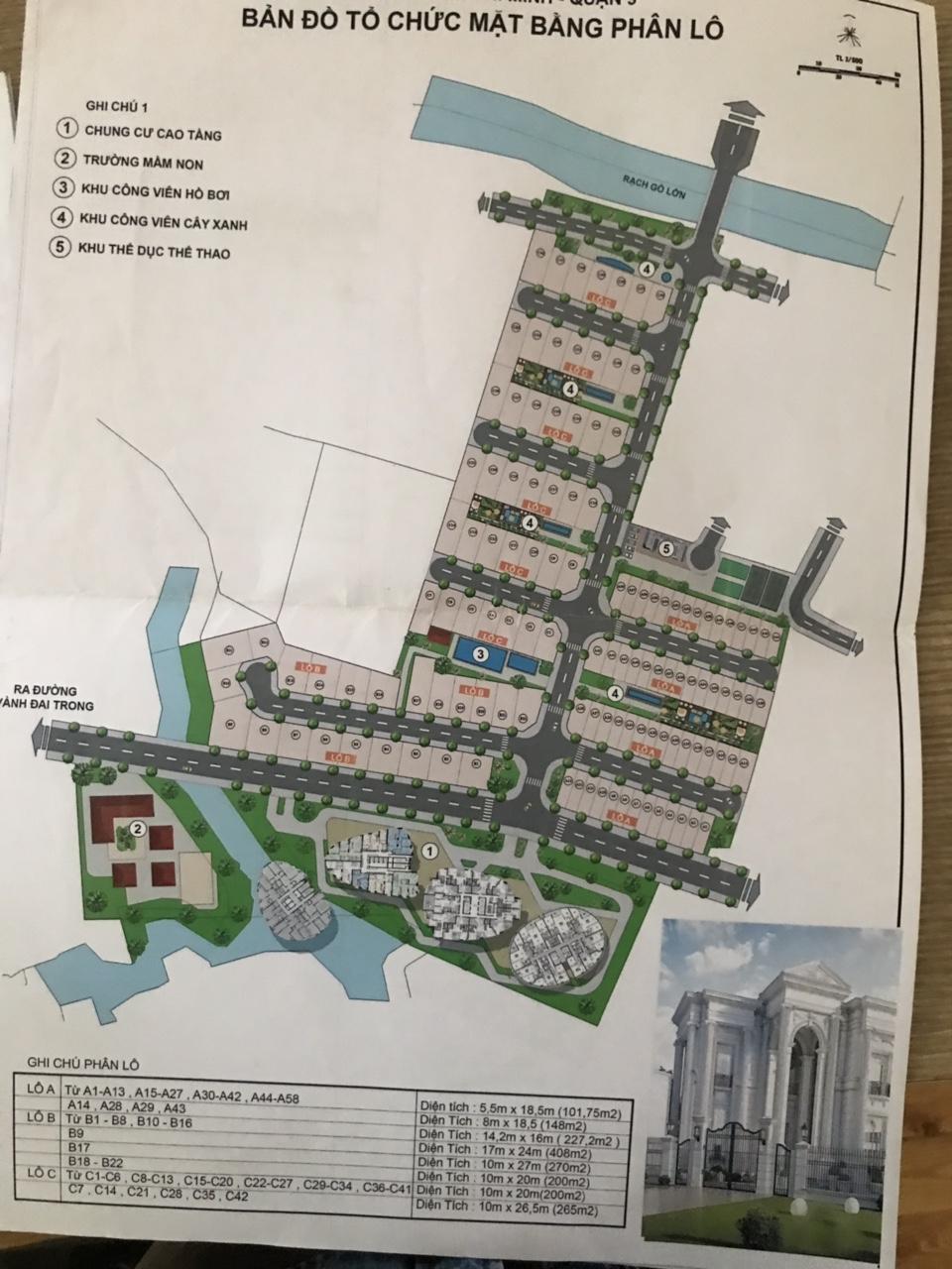 Mặt bằng dự án nhà phố biệt thự Merosa Khang Điền.