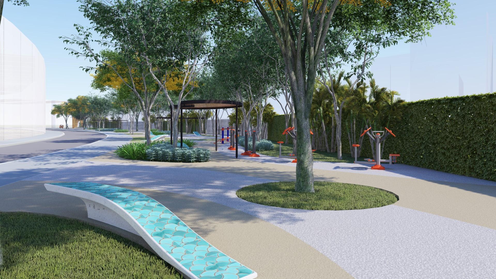 Công viên tiện ích dự án đất nền J Dragon Cần Đước Long An. Nhà Phố mặt tiền Trần Hưng Đạo.