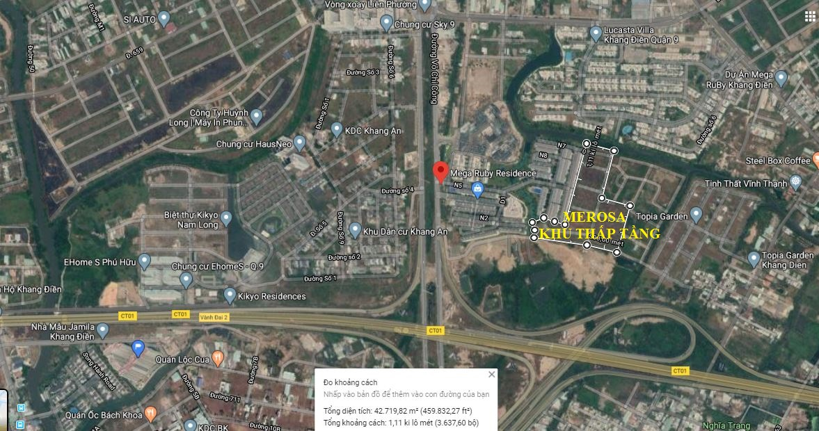 Vi trí chính xác trên bản đồ dự án Merosa Khang Điền khu thấp tầng