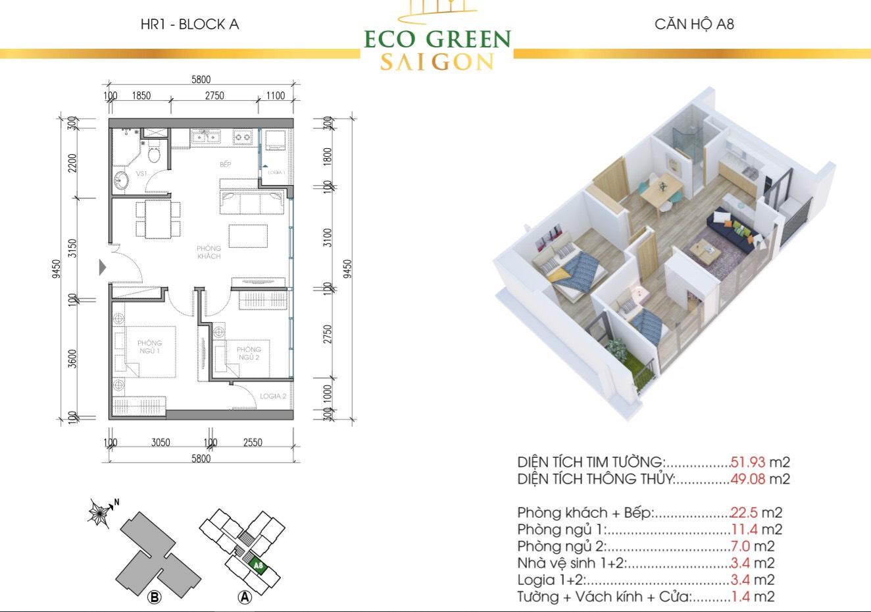 Mẫu thiết kế căn hộ A8 5m2 Tòa HR1 và HR2