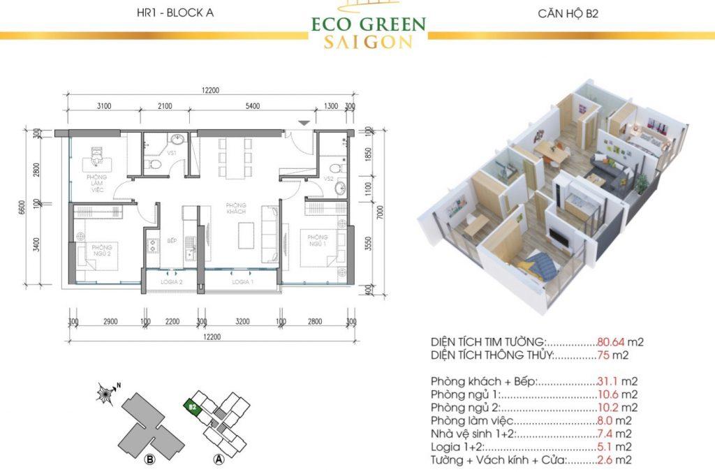 Thiết kế căn 80m2 Căn hộ Eco Green Saigon Quận 7