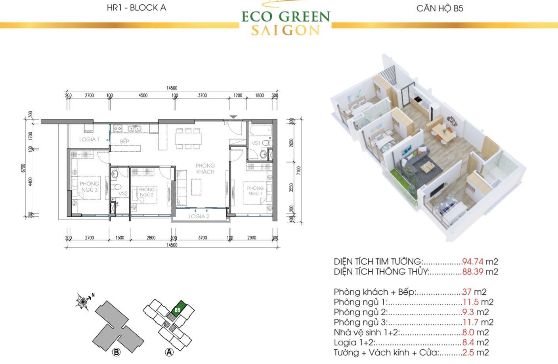 Mẫu căn hộ 3 phòng ngủ 95m2 thuộc Tòa HR1 và HR2.