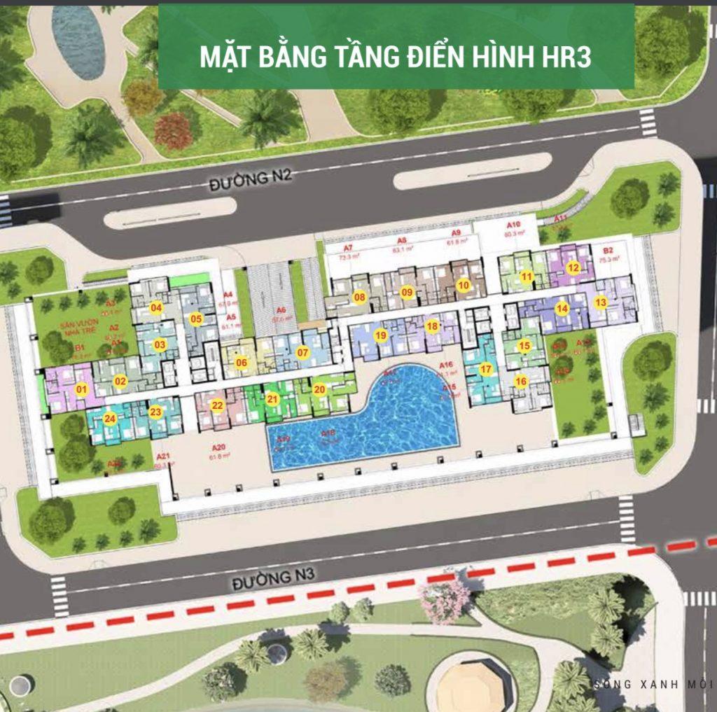Mặt bằng chi tiết căn hộ Eco Green Saigon Quận 7 Tòa Hr3