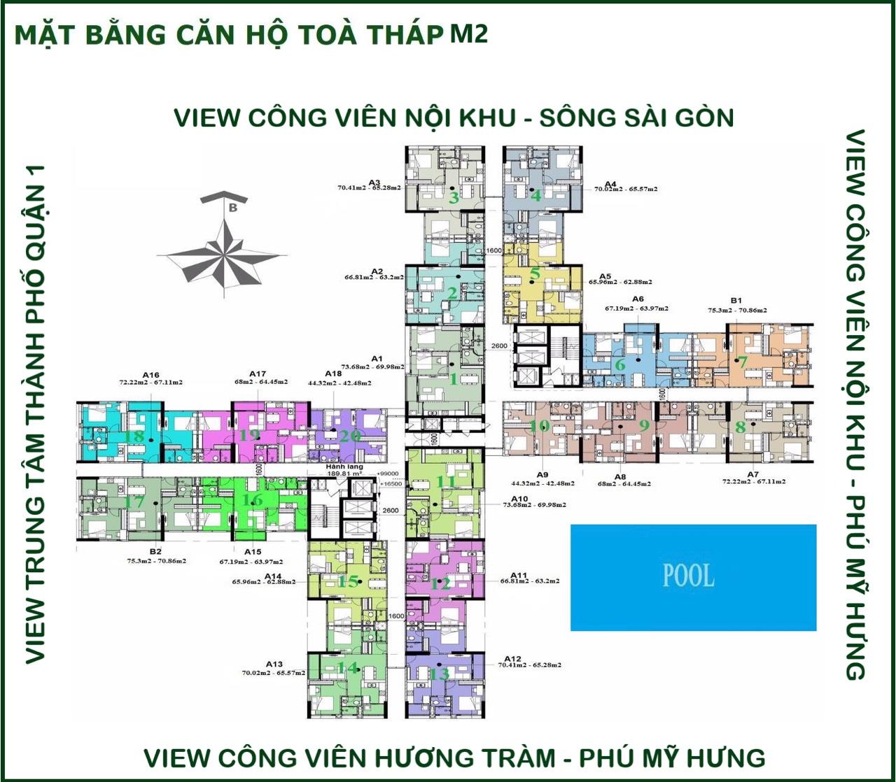 Mặt bằng chi tiết căn hộ Eco Green Sài Gòn Tòa M2