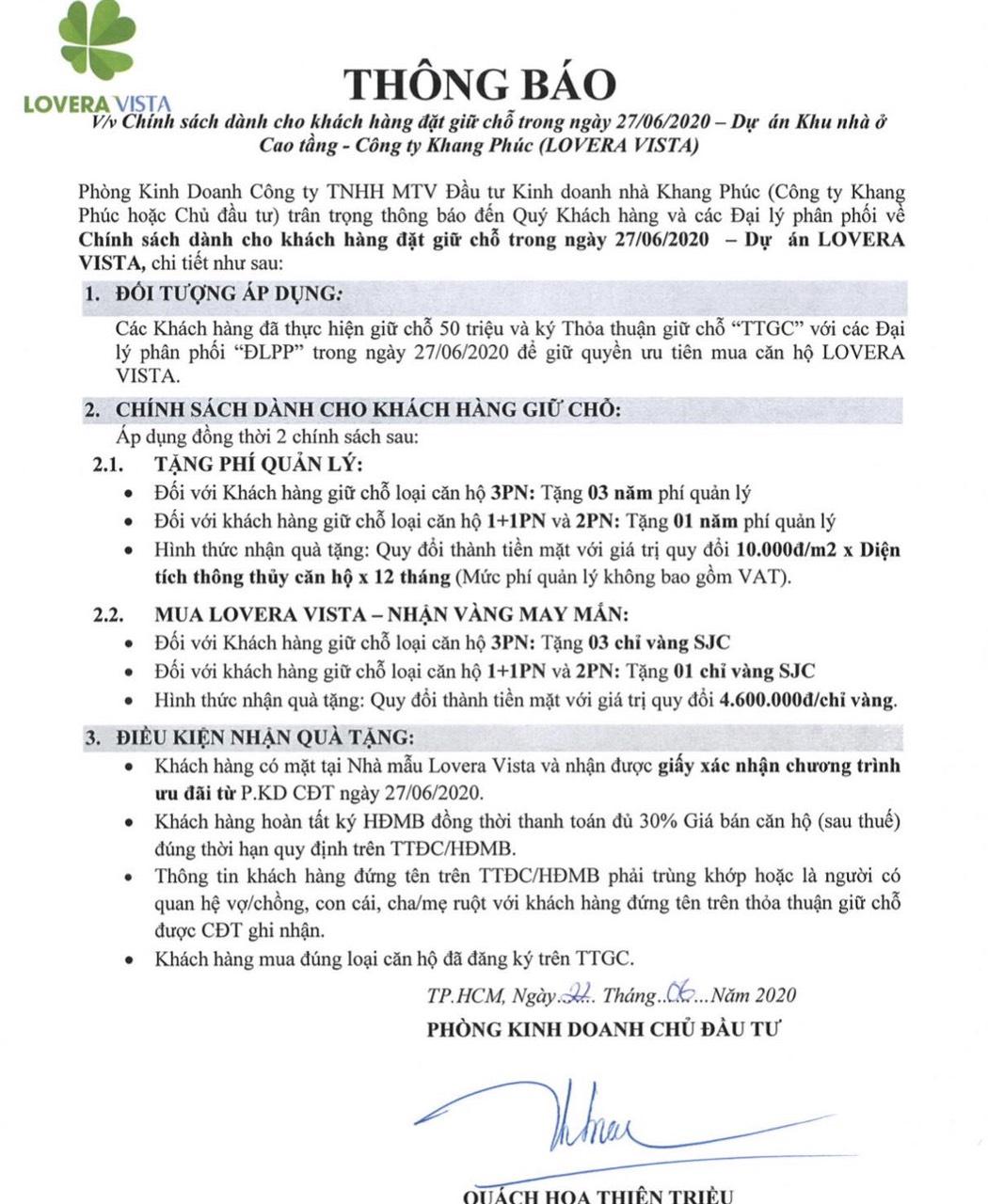 Chính sách quà tặng tháng 7 căn hộ Lovera Vista Khang Điền