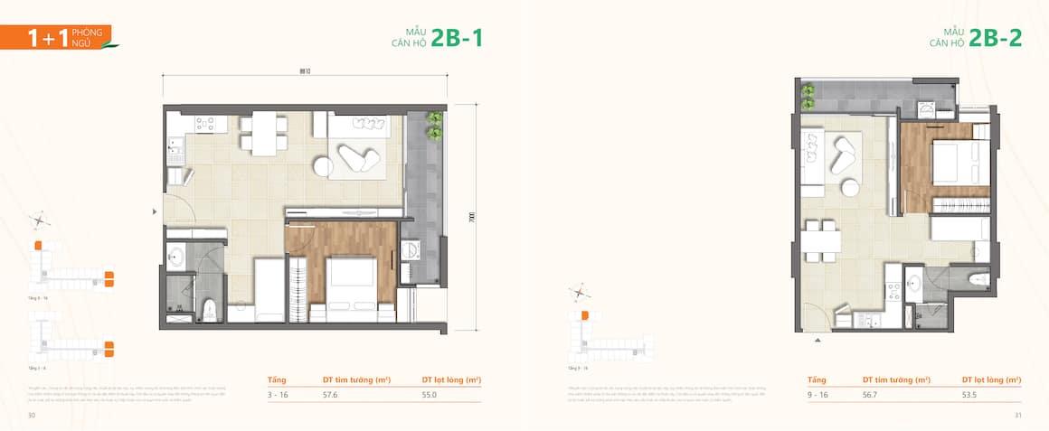 Thiết kế căn hộ 2 phong ngủ Phú Hữu Quận 9
