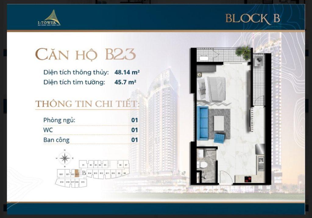 Thiết kế căn 1 phòng ngủ căn hộ I-Tower Residences Quy Nhơn.